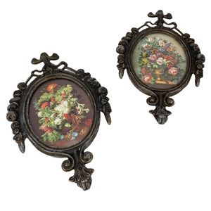 Two miniature Italy ornate filigree picture frames floral bouquets in vases 4x6